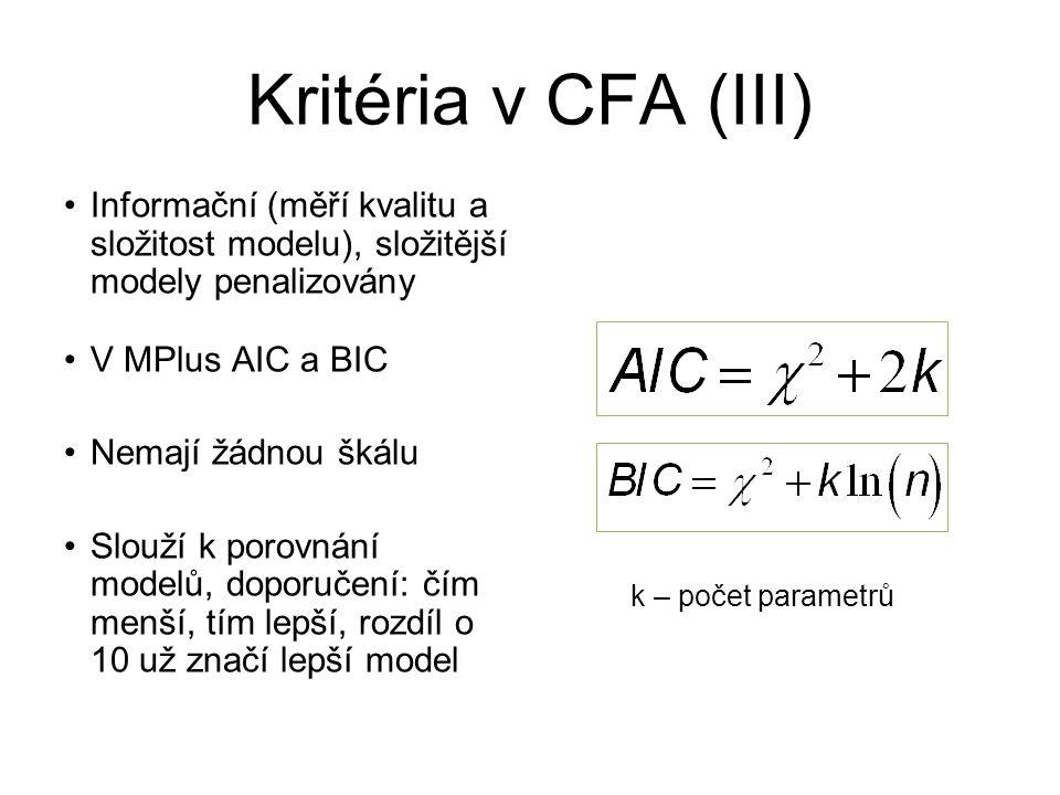 Kritéria v CFA (III) Informační (měří kvalitu a složitost modelu), složitější modely penalizovány. V MPlus AIC a BIC.
