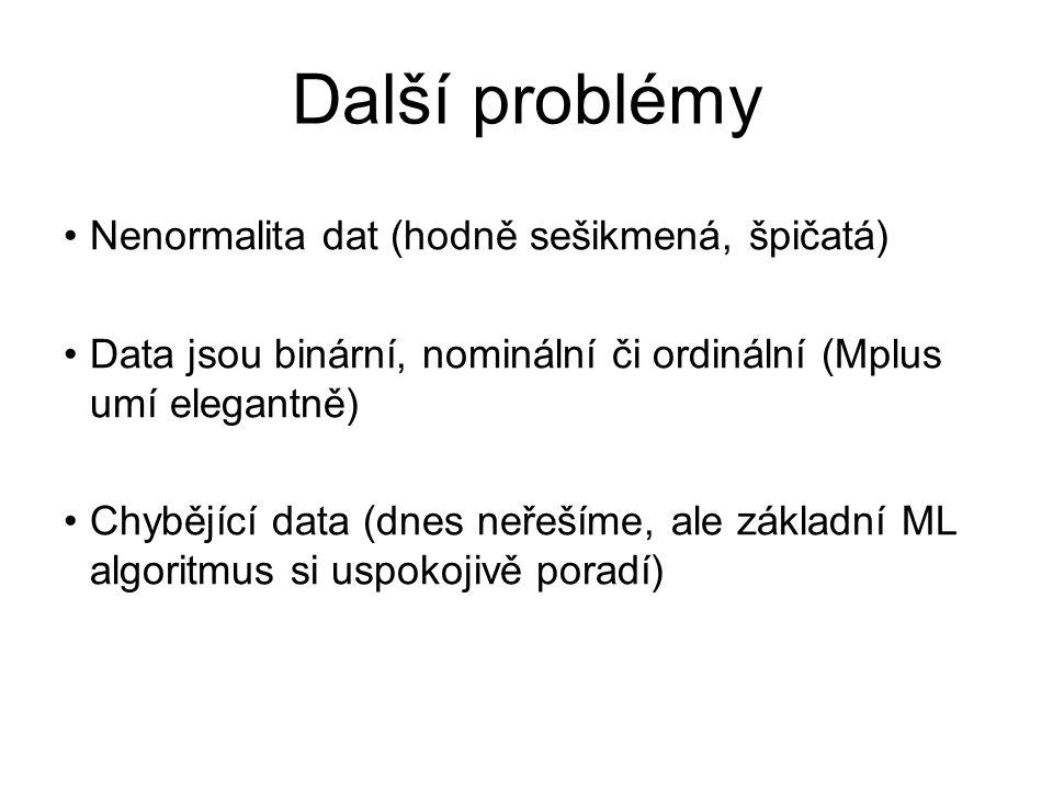 Další problémy Nenormalita dat (hodně sešikmená, špičatá)
