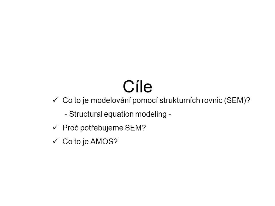 Cíle Co to je modelování pomocí strukturních rovnic (SEM) - Structural equation modeling - Proč potřebujeme SEM
