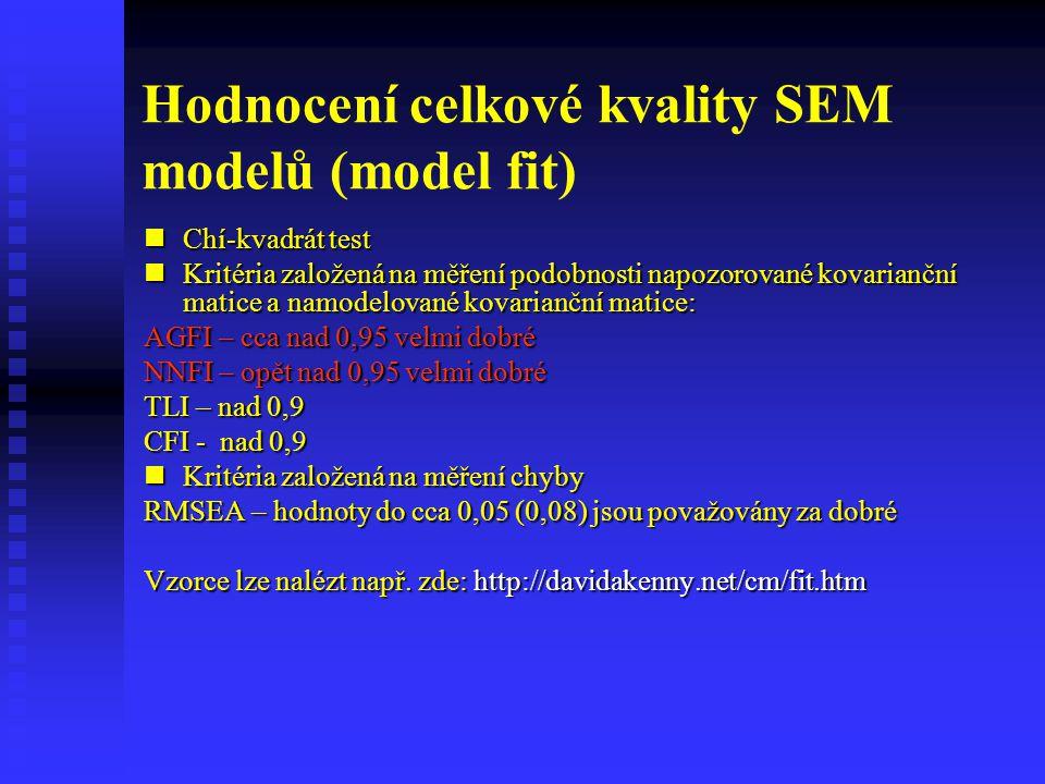 Hodnocení celkové kvality SEM modelů (model fit)