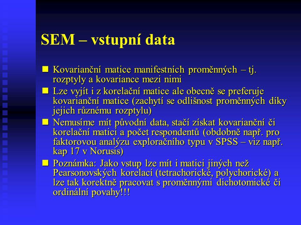 SEM – vstupní data Kovarianční matice manifestních proměnných – tj. rozptyly a kovariance mezi nimi.
