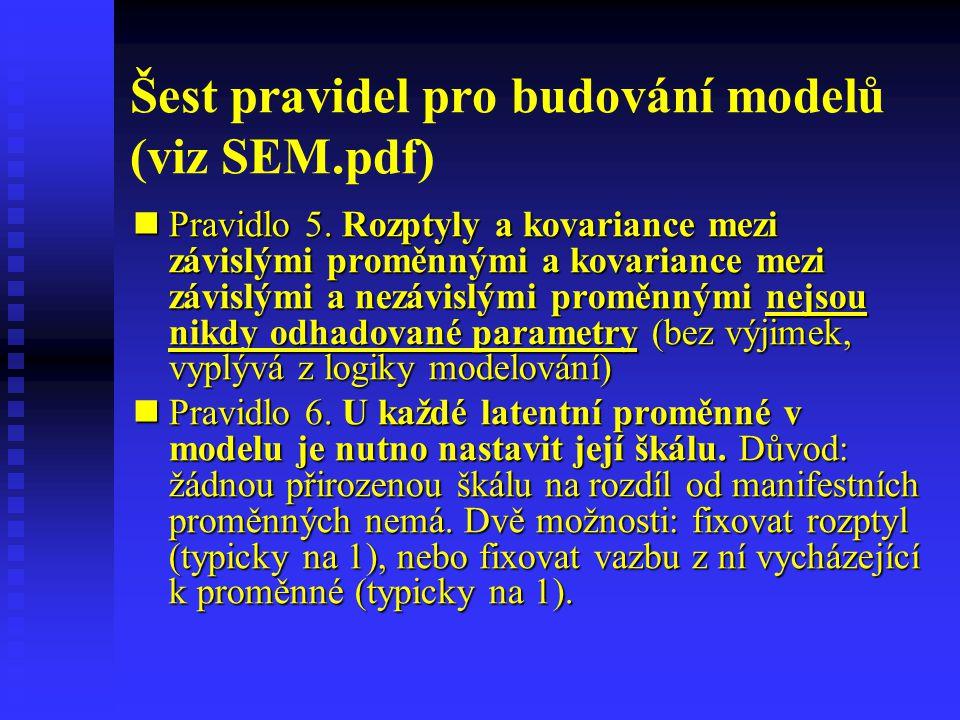 Šest pravidel pro budování modelů (viz SEM.pdf)