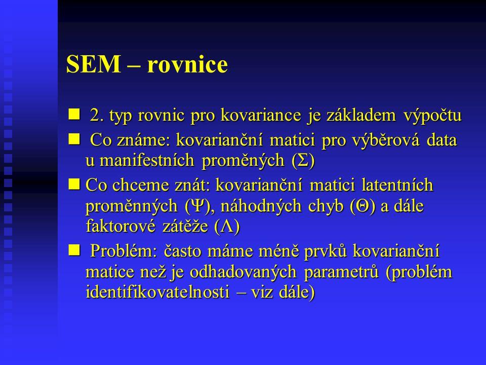 SEM – rovnice 2. typ rovnic pro kovariance je základem výpočtu
