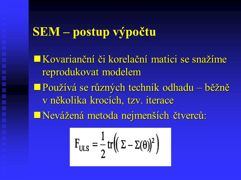 SEM – postup výpočtu Kovarianční či korelační matici se snažíme reprodukovat modelem.