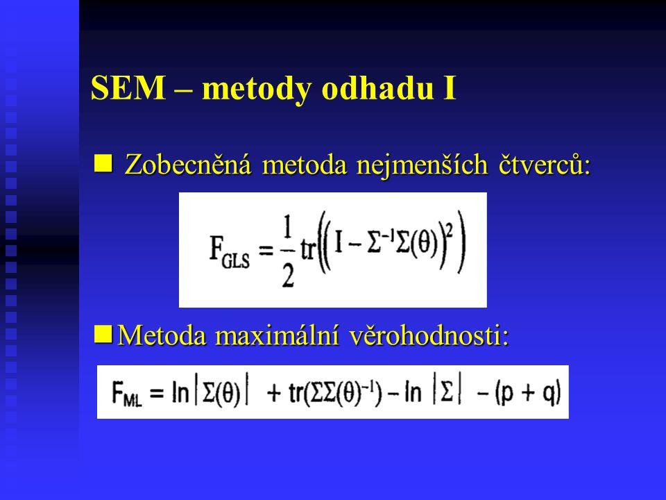 SEM – metody odhadu I Zobecněná metoda nejmenších čtverců: