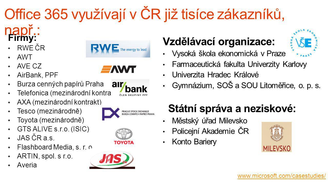 Office 365 využívají v ČR již tisíce zákazníků, např.: