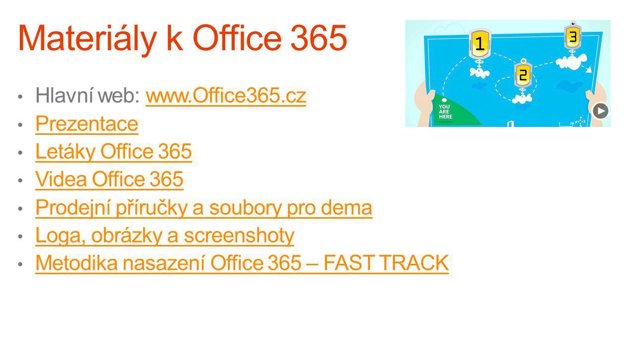 Materiály k Office 365 Hlavní web: www.Office365.cz. Prezentace. Letáky Office 365. Videa Office 365.