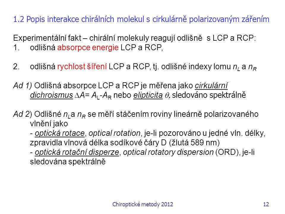 Experimentální fakt – chirální molekuly reagují odlišně s LCP a RCP: