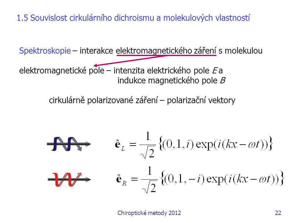 1.5 Souvislost cirkulárního dichroismu a molekulových vlastností