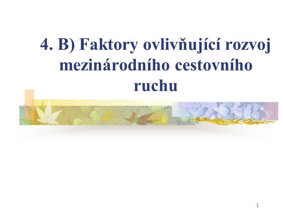 4. B) Faktory ovlivňující rozvoj mezinárodního cestovního ruchu