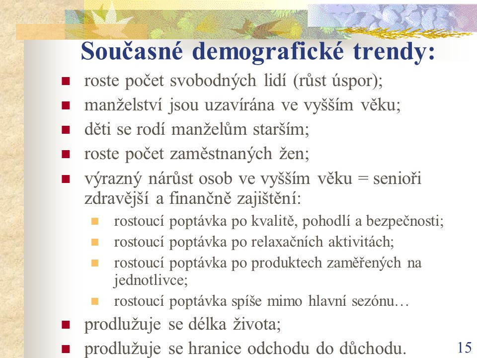 Současné demografické trendy: