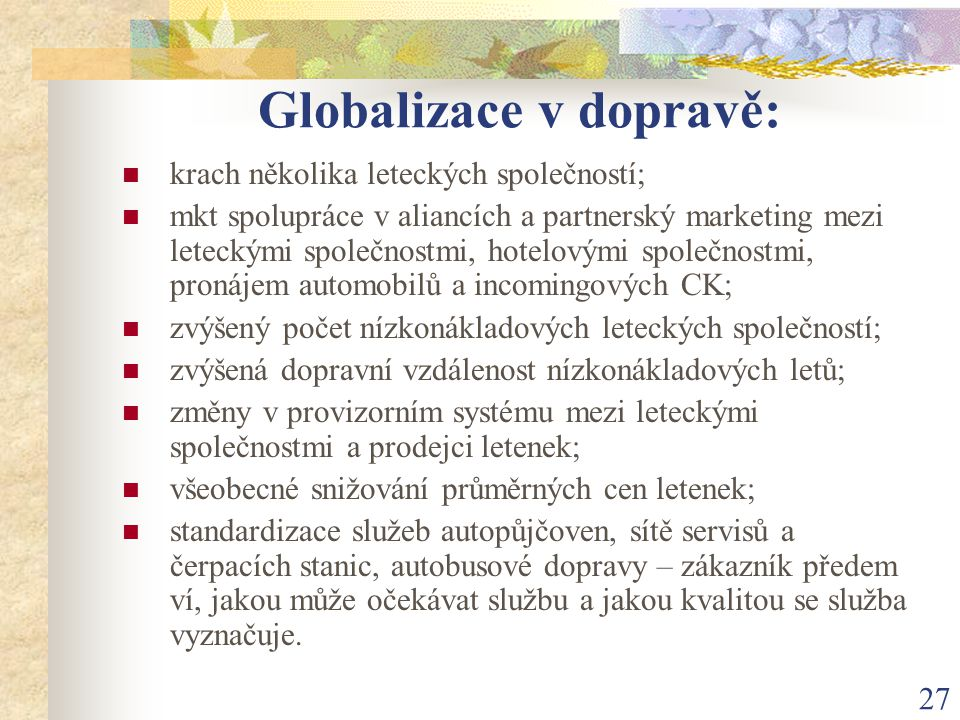 Globalizace v dopravě:
