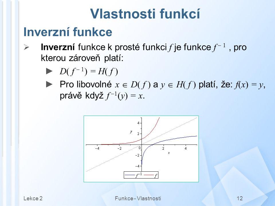 Vlastnosti funkcí Inverzní funkce
