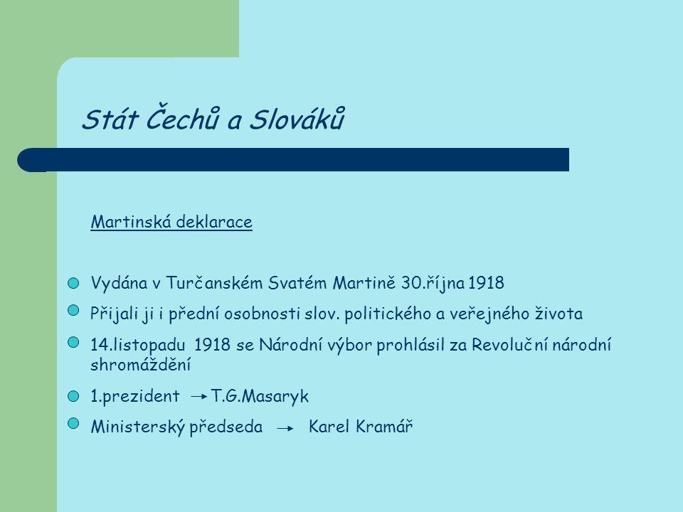 Stát Čechů a Slováků Martinská deklarace
