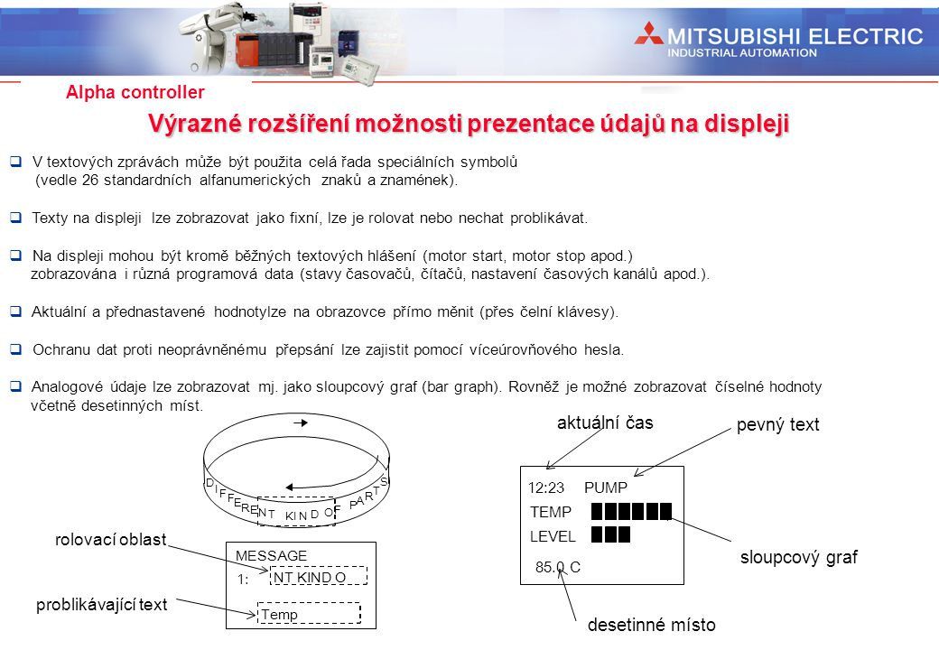 Výrazné rozšíření možnosti prezentace údajů na displeji