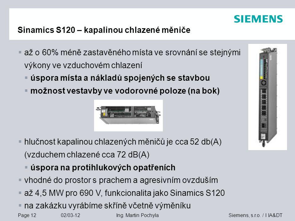 Sinamics S120 – kapalinou chlazené měniče
