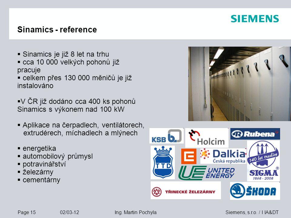 Sinamics - reference Sinamics je již 8 let na trhu