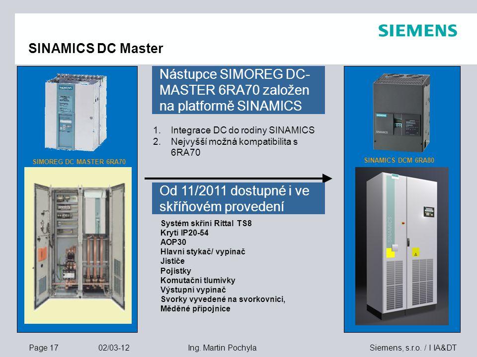 Nástupce SIMOREG DC-MASTER 6RA70 založen na platformě SINAMICS
