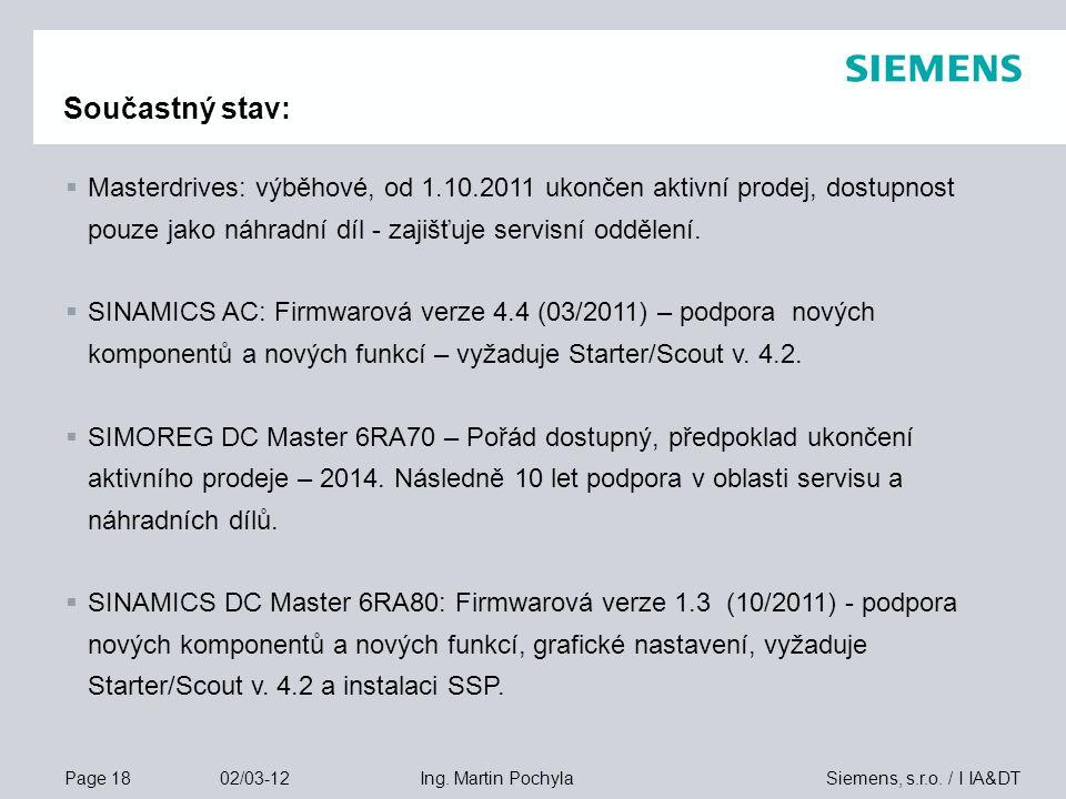 Součastný stav: Masterdrives: výběhové, od 1.10.2011 ukončen aktivní prodej, dostupnost pouze jako náhradní díl - zajišťuje servisní oddělení.