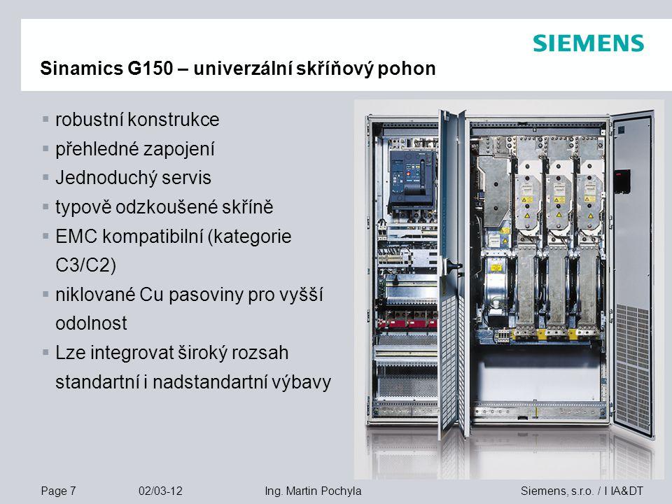 Sinamics G150 – univerzální skříňový pohon