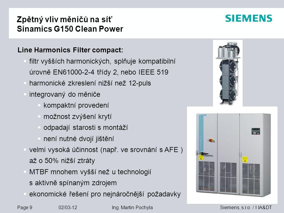 Zpětný vliv měničů na síť Sinamics G150 Clean Power
