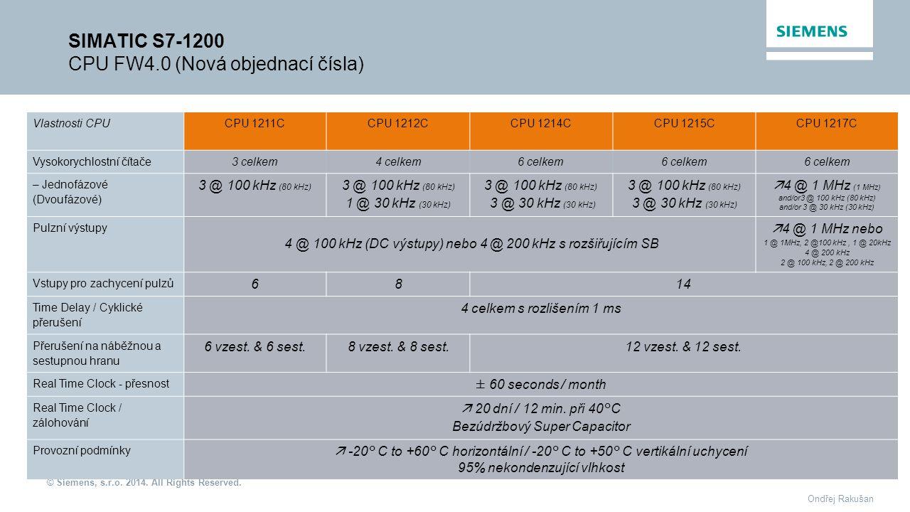 SIMATIC S7-1200 CPU FW4.0 (Nová objednací čísla)