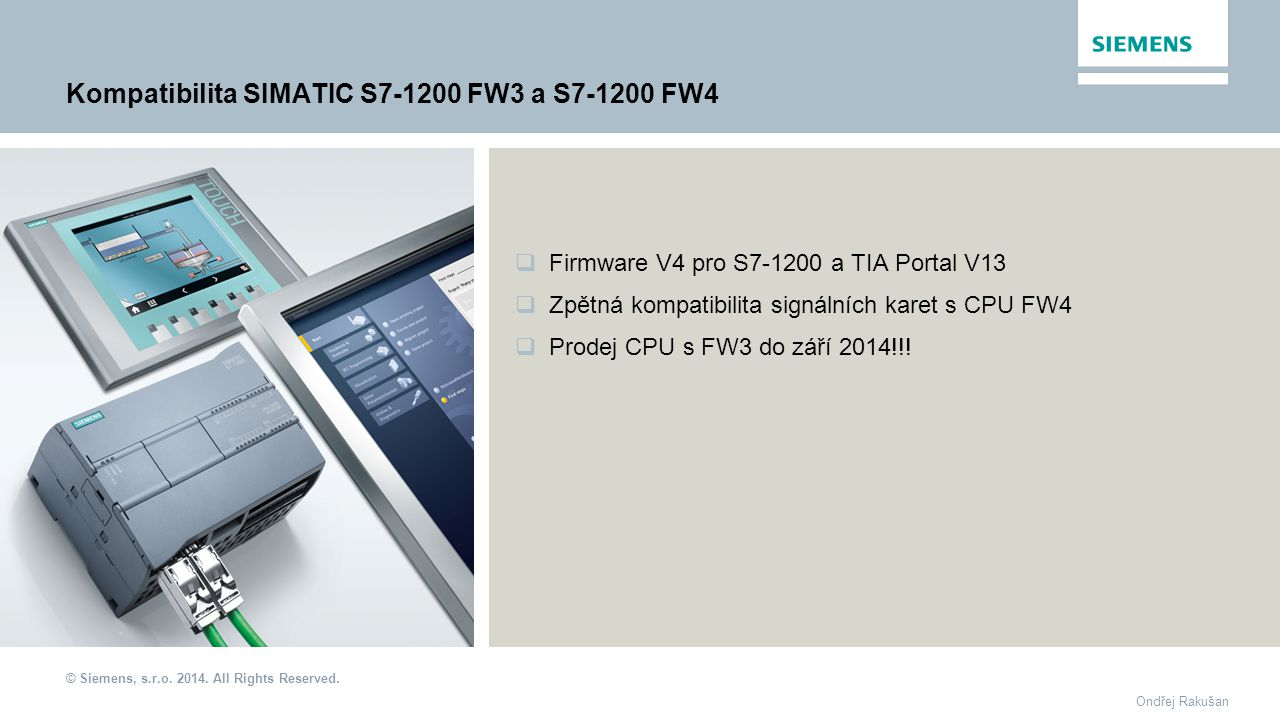 Kompatibilita SIMATIC S7-1200 FW3 a S7-1200 FW4