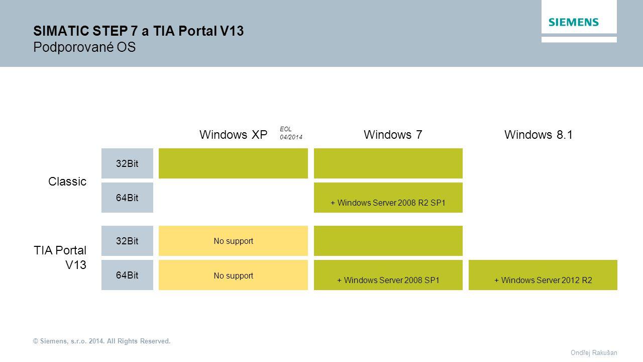 SIMATIC STEP 7 a TIA Portal V13 Podporované OS
