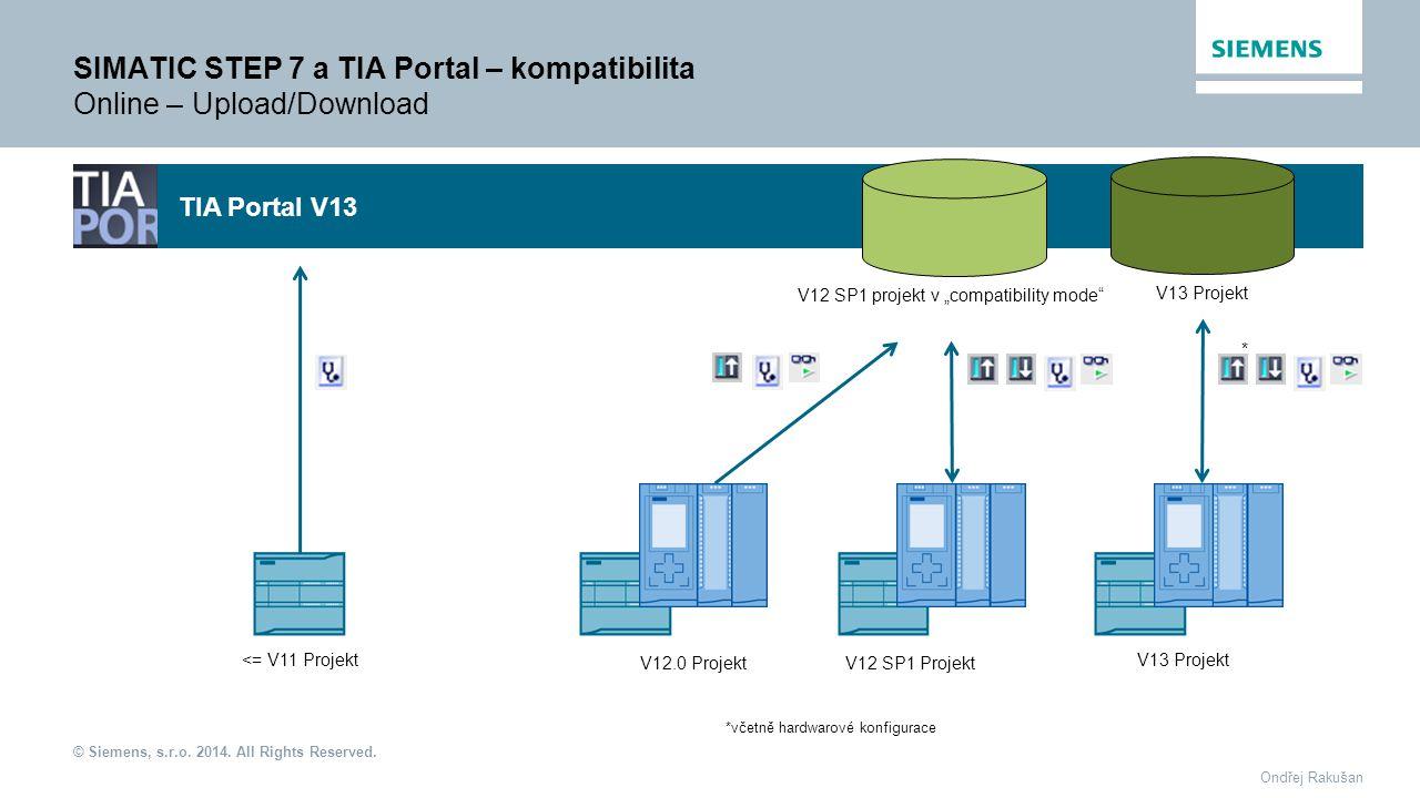 SIMATIC STEP 7 a TIA Portal – kompatibilita Online – Upload/Download