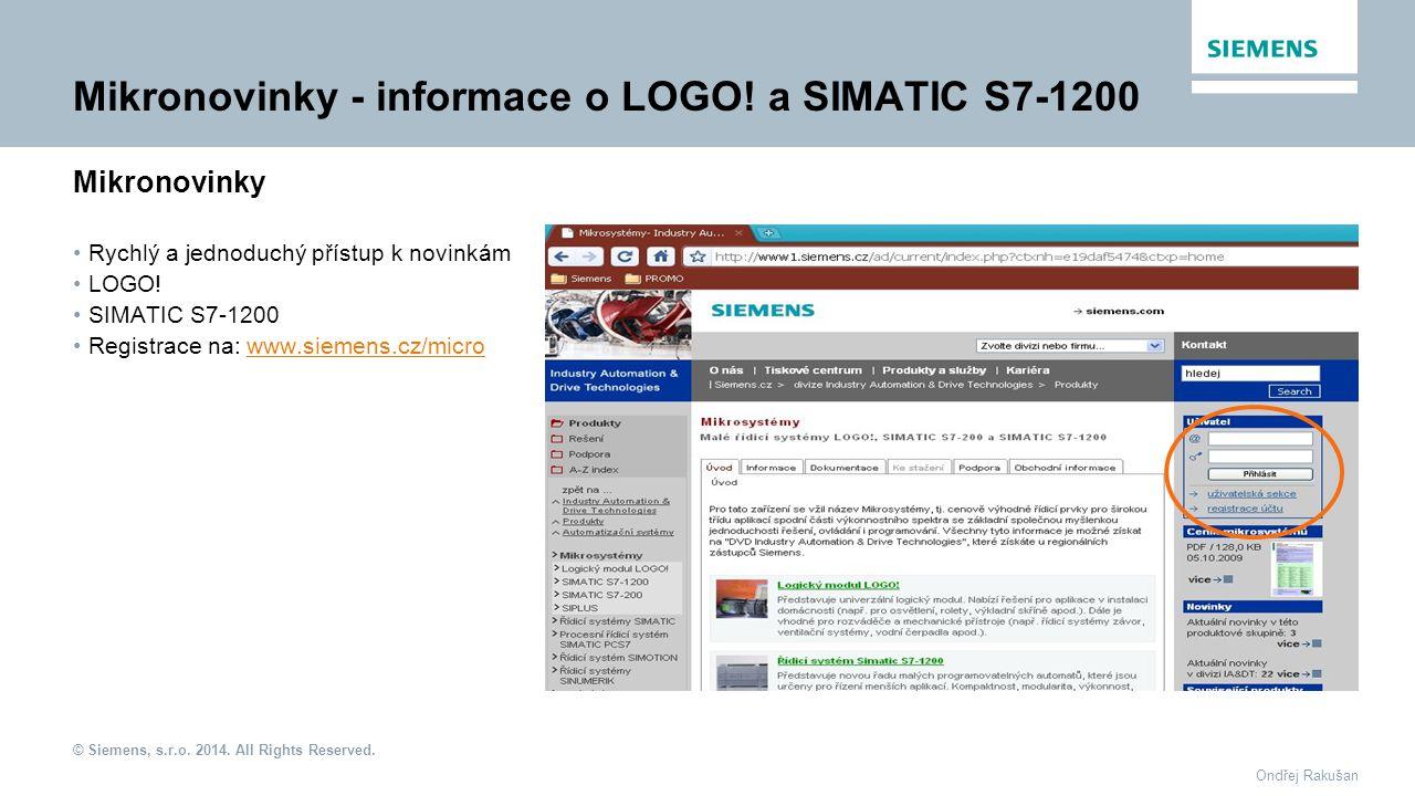 Mikronovinky - informace o LOGO! a SIMATIC S7-1200