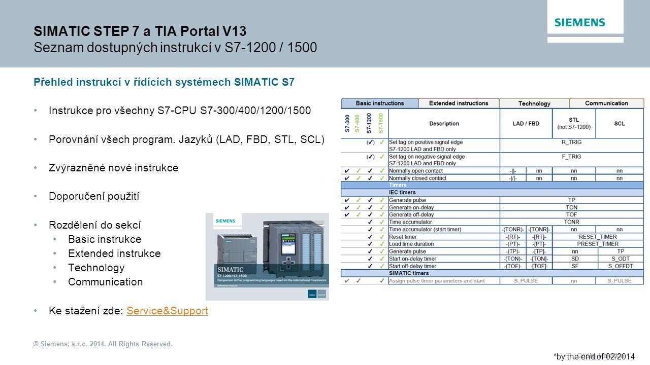 SIMATIC STEP 7 a TIA Portal V13 Seznam dostupných instrukcí v S7-1200 / 1500