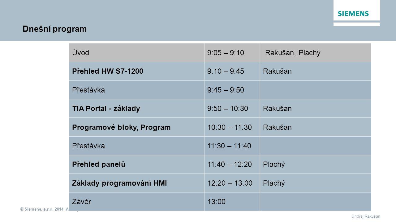 Dnešní program Úvod 9:05 – 9:10 Rakušan, Plachý Přehled HW S7-1200