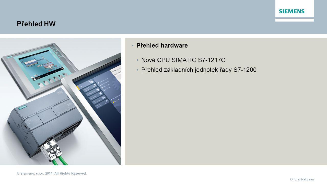 Přehled HW Přehled hardware Nové CPU SIMATIC S7-1217C