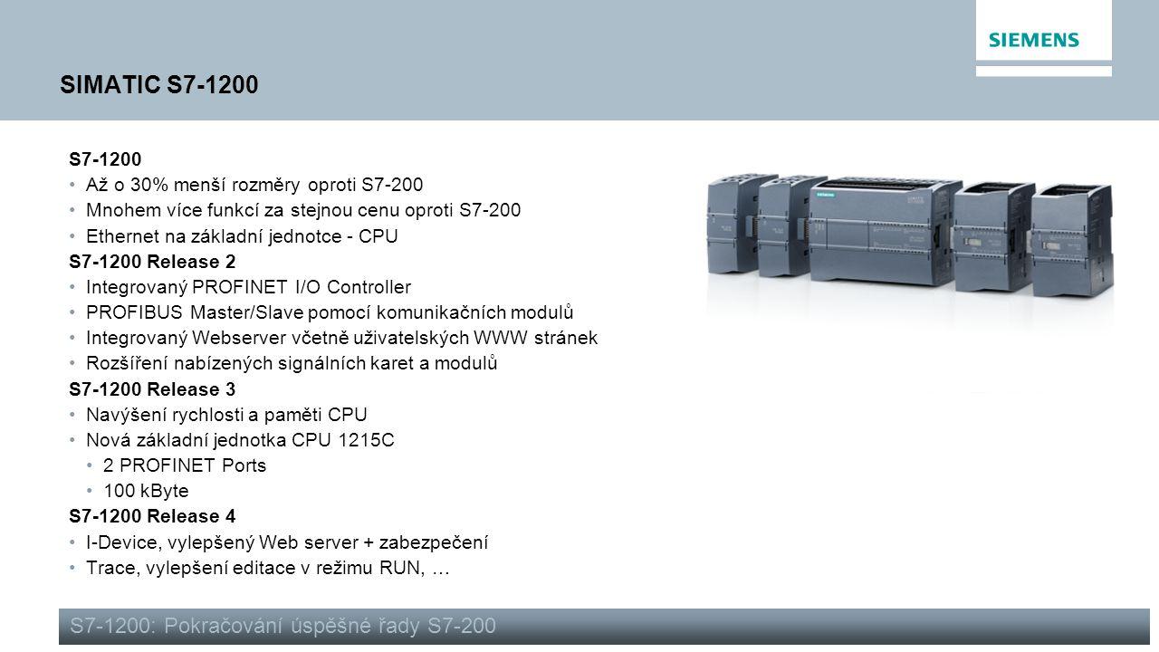 SIMATIC S7-1200 S7-1200: Pokračování úspěšné řady S7-200 S7-1200