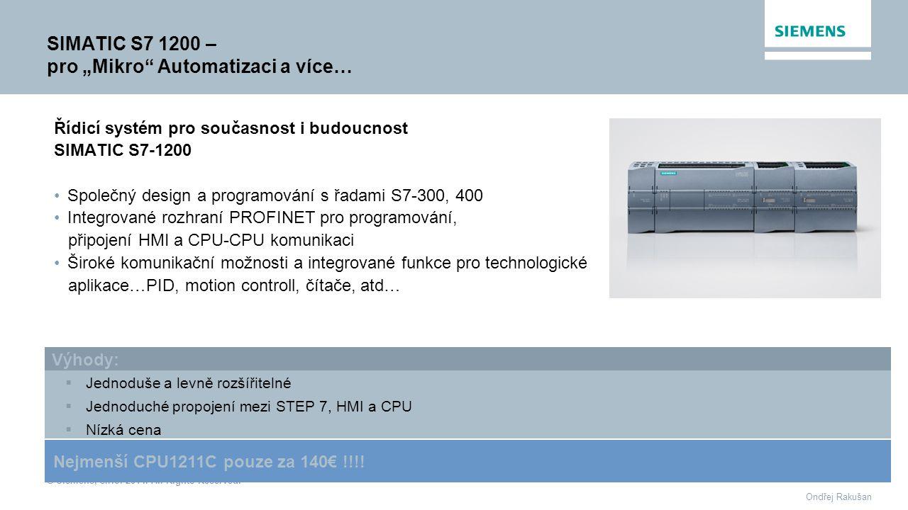 """SIMATIC S7 1200 – pro """"Mikro Automatizaci a více…"""