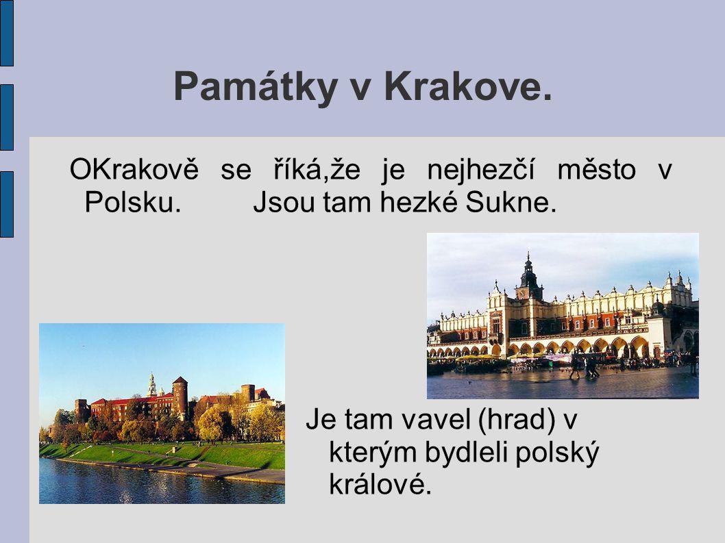 Památky v Krakove. OKrakově se říká,že je nejhezčí město v Polsku. Jsou tam hezké Sukne.