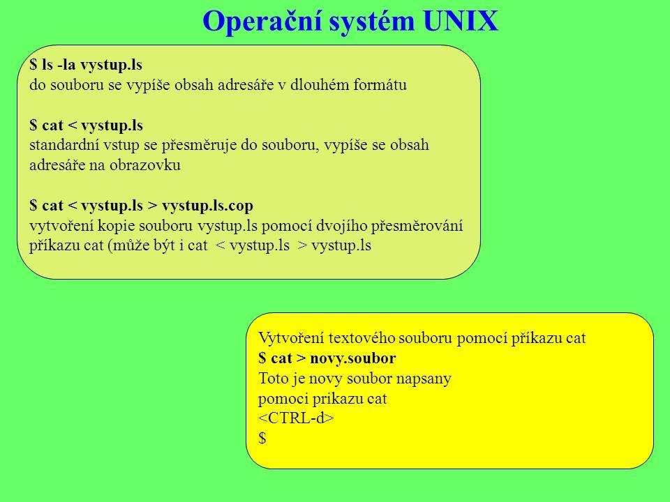 Operační systém UNIX $ ls -la vystup.ls