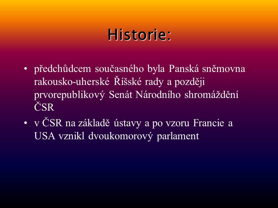 Historie: předchůdcem současného byla Panská sněmovna rakousko-uherské Říšské rady a později prvorepublikový Senát Národního shromáždění ČSR.