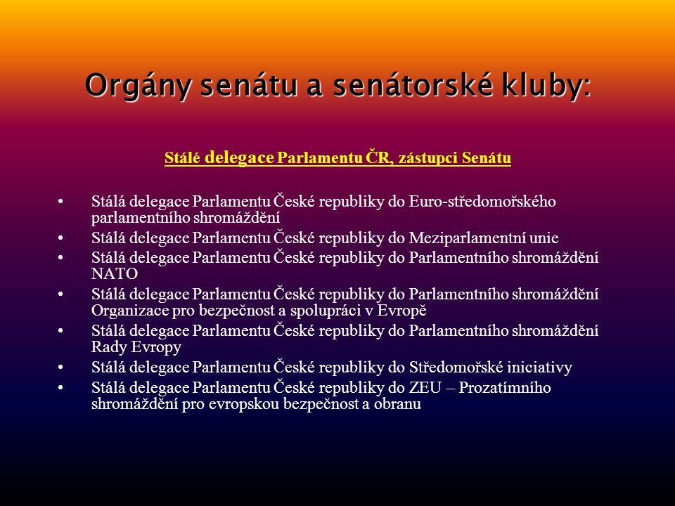 Orgány senátu a senátorské kluby: