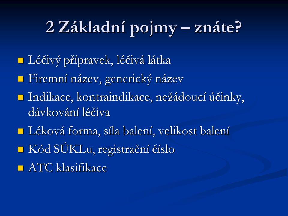 2 Základní pojmy – znáte Léčivý přípravek, léčivá látka