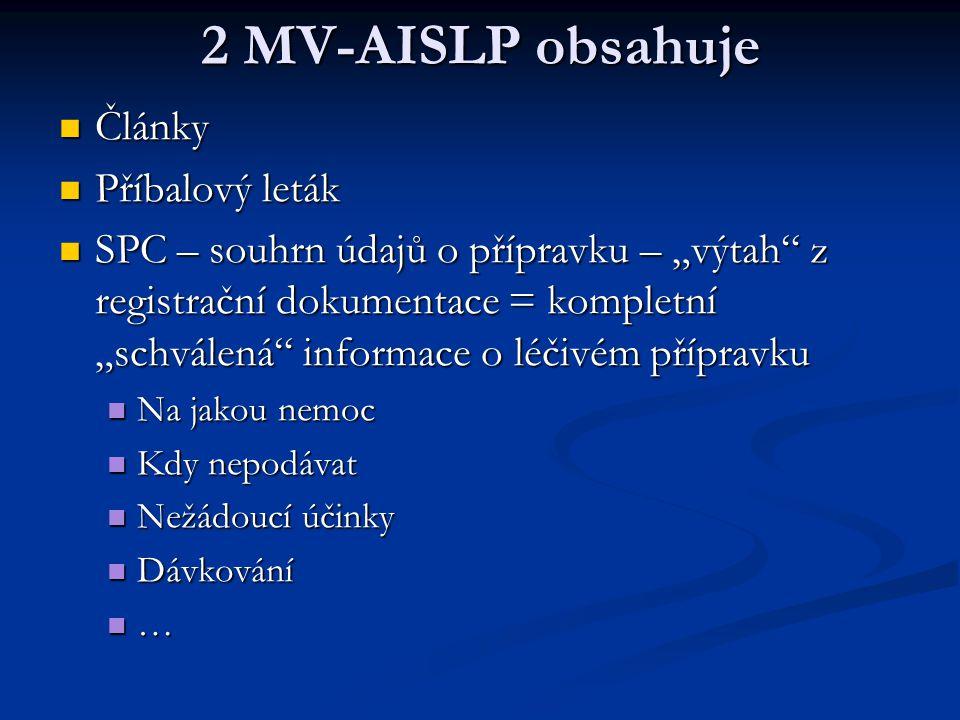 2 MV-AISLP obsahuje Články Příbalový leták