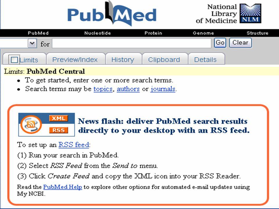 Priklad konkretniho vyuziti RSS technologie pro sledovani medicinskych informaci je definovani RSS kanalu v pubmedu pote, co jsme vyladili vyhledavaci strategii.