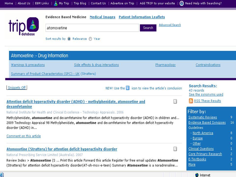 Tento slide ukazuje specifický vyhledávač prohledávající EBM dokumenty – systematická review, doporučené postupy, souhrny apod.