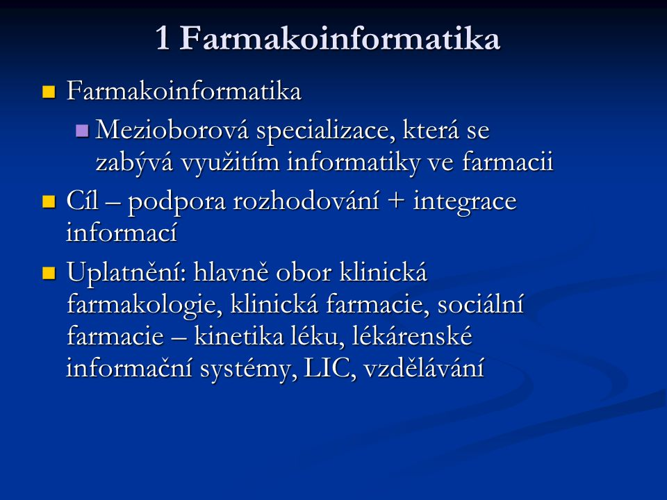 1 Farmakoinformatika Farmakoinformatika