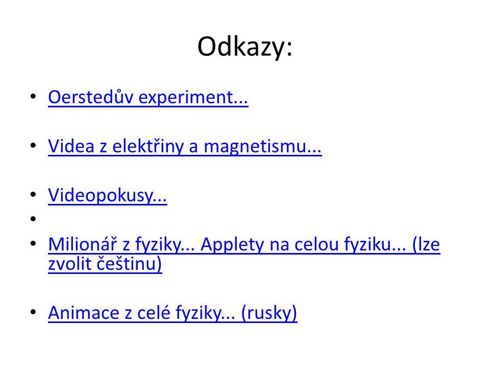 Odkazy: Oerstedův experiment... Videa z elektřiny a magnetismu...
