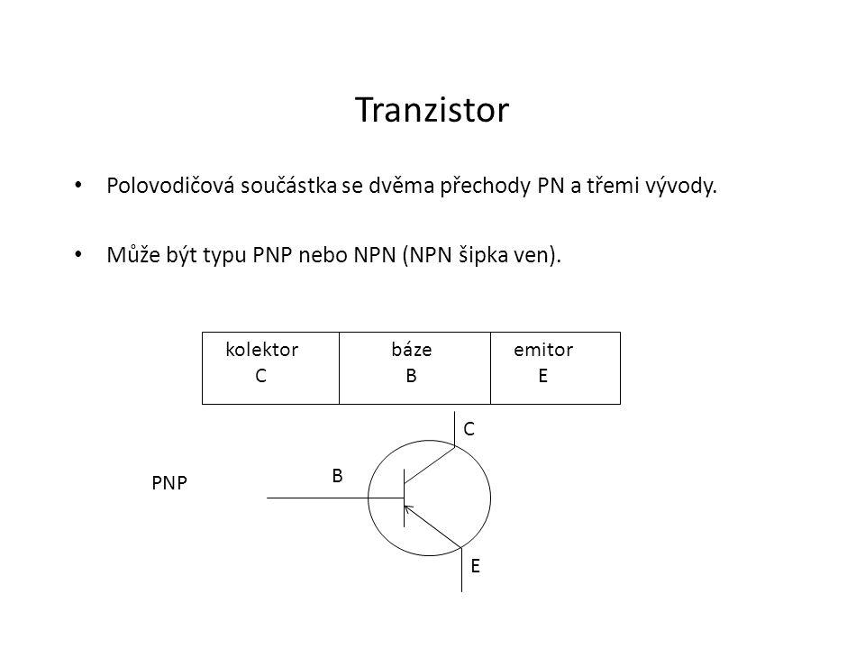 Tranzistor Polovodičová součástka se dvěma přechody PN a třemi vývody.