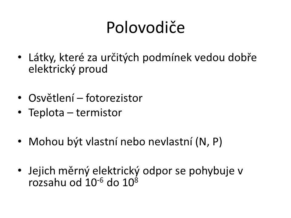 Polovodiče Látky, které za určitých podmínek vedou dobře elektrický proud. Osvětlení – fotorezistor.