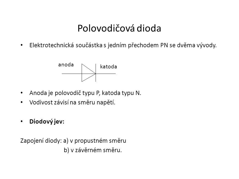 Polovodičová dioda Elektrotechnická součástka s jedním přechodem PN se dvěma vývody. Anoda je polovodič typu P, katoda typu N.