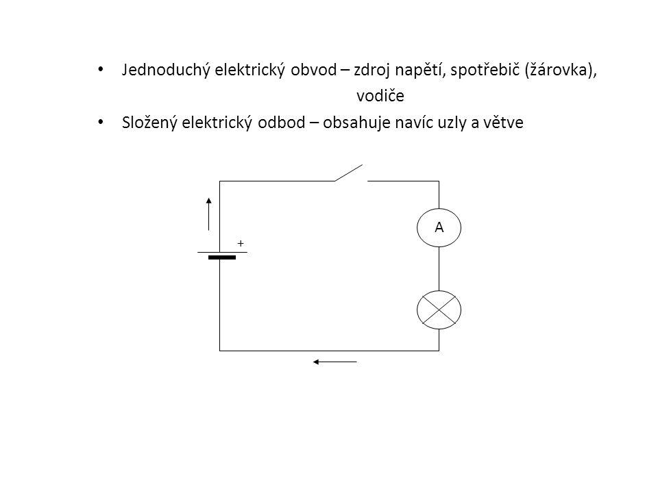 Jednoduchý elektrický obvod – zdroj napětí, spotřebič (žárovka),