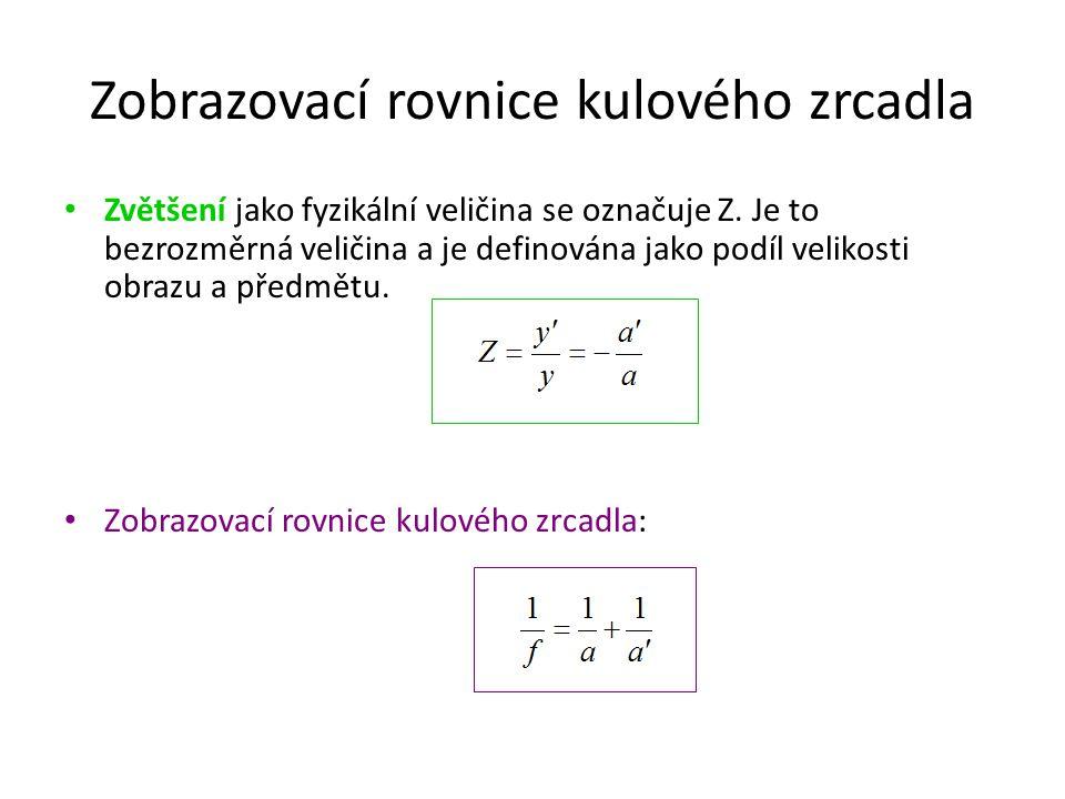Zobrazovací rovnice kulového zrcadla